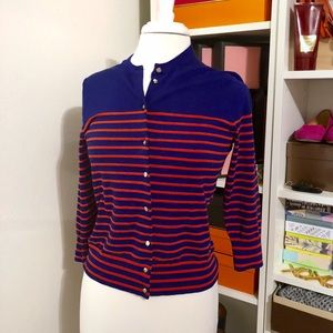 Used, NWT Striped Jackie Cardigan w/ Gold Anchor ButtonsNWT for sale